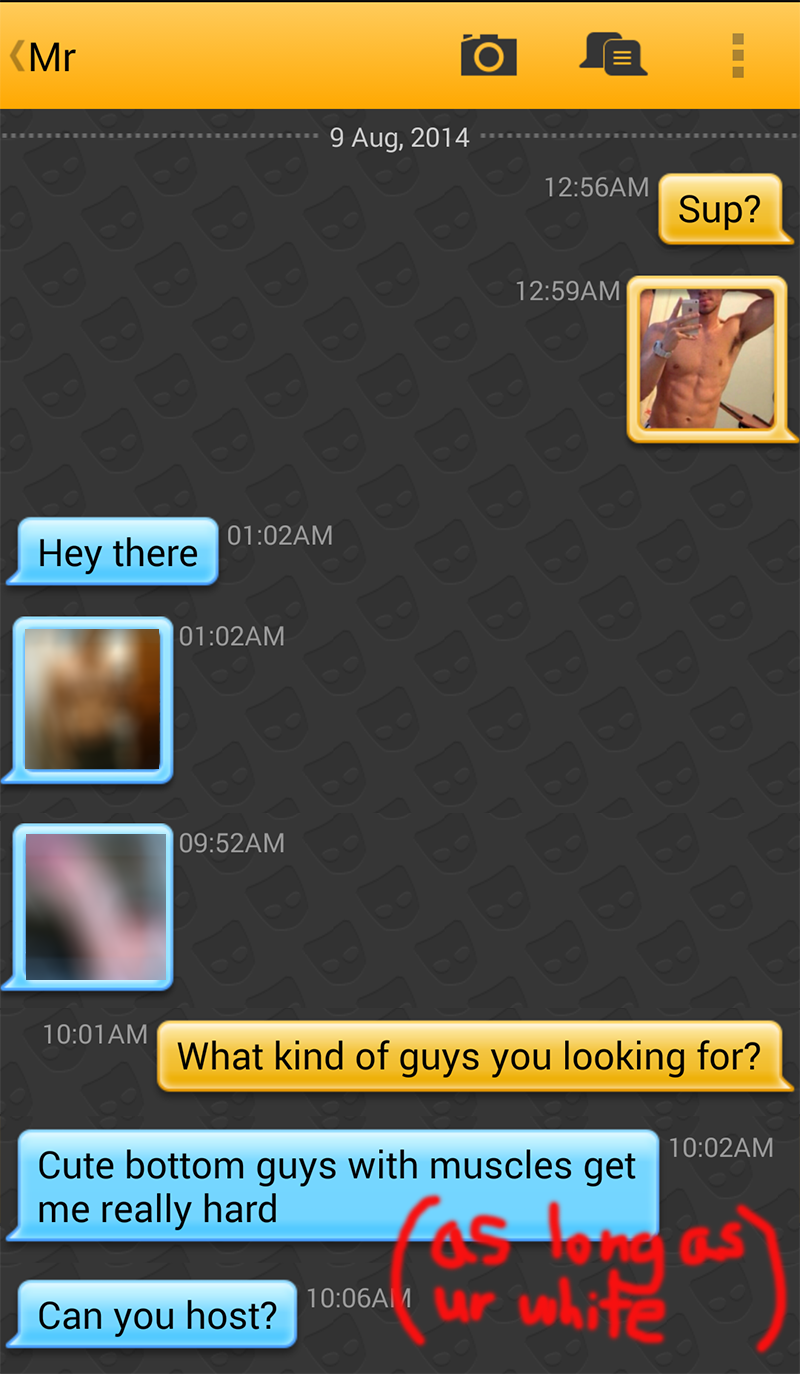 Asian vs White Grindr Experiment Message
